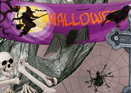 calaveras, tumbas, cuervos de halloween