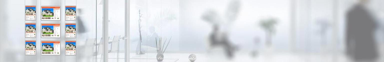 Expositores LED inmobiliaria bulevardeco, marcos led luminosos, carpetas led para escaparate, marcos de luz led para inmobiliarias, oficinas
