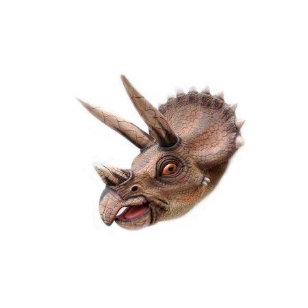 Cabeza dinosaurio triceraptors en fibra de vidrio
