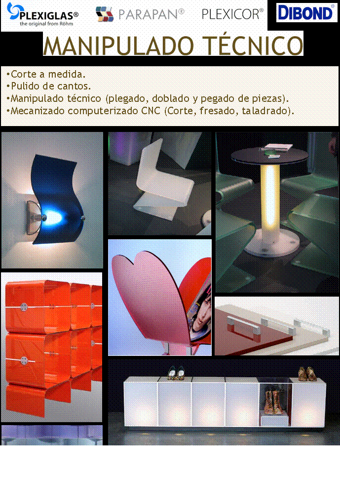 fabricación de productos en plexiglas, parapan, plexicor y dibond