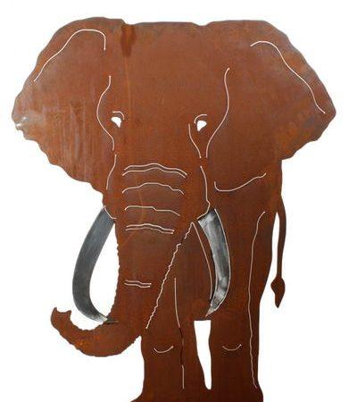 Silueta metálica de Elefante oxido_60046
