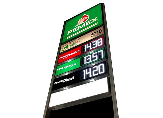 Rotulo de precios para gasolineras
