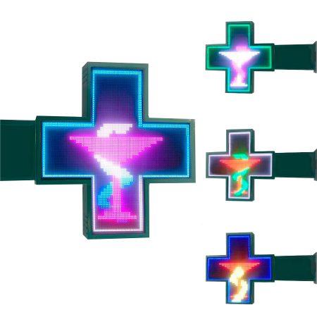 Rótulo LED cruz de farmacia color P6S 64cm, Rótulo luminoso LED cruz de farmacia color P10-100cm, Cruces de farmacia led, rotulo de farmacia led, cruz led, banderola cruz de farmacia LED, cruz de farmacia LED color, cruz de farmacia en color, cruz verde de farmacia LED