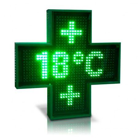 Rótulo luminoso cruz de farmacia monocromo P10, Rótulo luminoso LED cruz de farmacia color P10-100cm, Cruces de farmacia led, rotulo de farmacia led, cruz led, banderola cruz de farmacia LED, cruz de farmacia LED color, cruz de farmacia en color, cruz verde de farmacia LED
