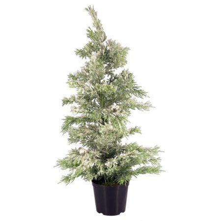 ÁRBOL CIPRÉS CUBIERTO DE NIEVE 60 CM, decoración escaparates de navidad, consejos decoración de navidad, adornos árbol de navidad, ideas decorativas para tiendas en navidad.