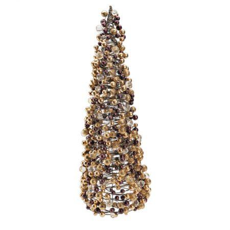 CONO DE CUENTAS DE ORO Y COBRE DE LUJO, decoración escaparates de navidad, consejos decoración de navidad, adornos árbol de navidad, ideas decorativas para tiendas en navidad.
