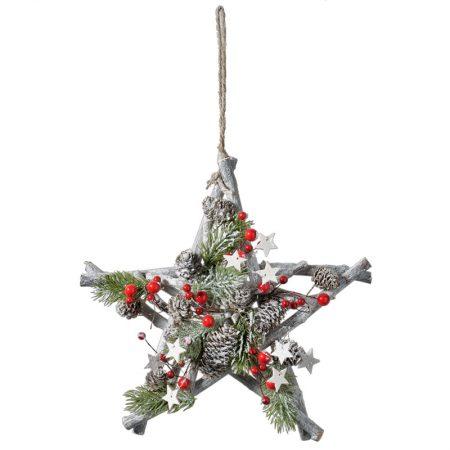 ESTRELLA DE INVIERNO DE MADERA-BAYA, decoración escaparates de navidad, consejos decoración de navidad, adornos árbol de navidad, ideas decorativas para tiendas en navidad.
