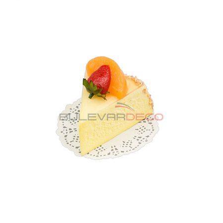 RÉPLICA TROZO DE TARTA DE QUESO CON FRESA Y ALBARICOQUE 10X8 CM, Replica de comida, ficticio de alimentos, fake food, alimentos de plástico