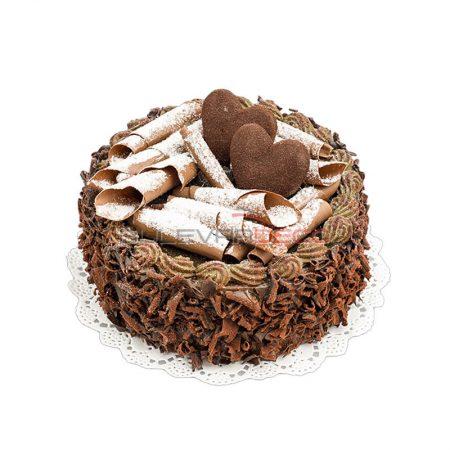 PASTEL DE CHOCOLATE CON CORAZONES 15cm, Replica de comida, ficticio de alimentos, fake food, alimentos de plástico