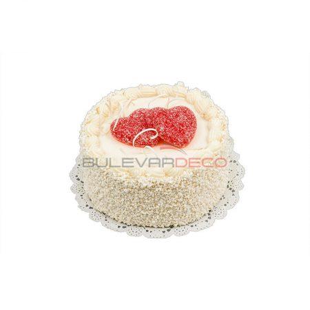 Réplica pastel de crema con corazones, Replica de comida, ficticio de alimentos, fake food, alimentos de plástico