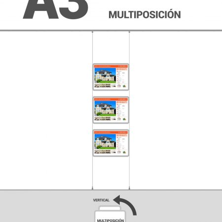 Cartel-inmobiliaria-A3, 1 Columna_3Filas_multiposicion, MARCO LED INMOBILIARIA, Carpeta led inmobiliaria alta luminosidad, expositor led inmobiliaria, sistema de cables para marcos led