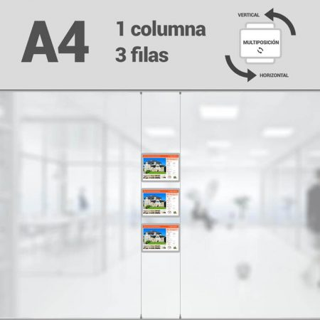 Cartel LED inmobiliaria 1x3-A4 multiposición horizontal, escaparates LED inmobiliaria, expositores LED inmobiliaria, carpetas led inmobiliaria, marcos led inmobiliaria