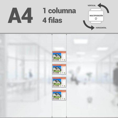 Cartel LED inmobiliaria 1x4-A4 multiposición horizontal, escaparates LED inmobiliaria, expositores LED inmobiliaria, carpetas led inmobiliaria, marcos led inmobiliaria
