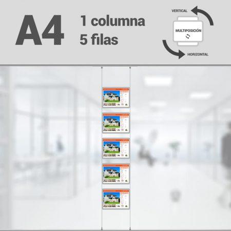 Cartel LED inmobiliaria 1x5-A4 multiposición horizontal, escaparates LED inmobiliaria, expositores LED inmobiliaria, carpetas led inmobiliaria, marcos led inmobiliaria