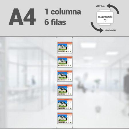 Cartel LED inmobiliaria 1x6-A4 multiposición horizontal, escaparates LED inmobiliaria, expositores LED inmobiliaria, carpetas led inmobiliaria, marcos led inmobiliaria