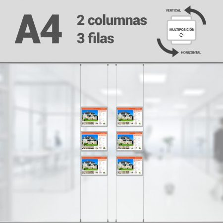 Cartel LED inmobiliaria 2x3-A4 multiposición horizontal, escaparates LED inmobiliaria, expositores LED inmobiliaria, carpetas led inmobiliaria, marcos led inmobiliaria