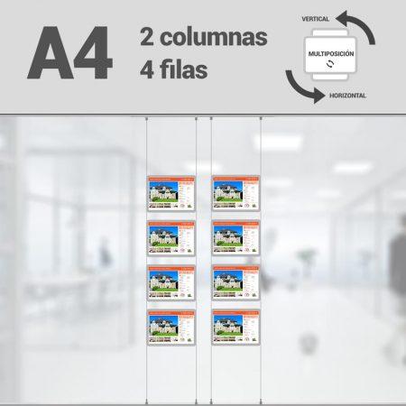 Cartel LED inmobiliaria 2x4-A4 multiposición horizontal, escaparates LED inmobiliaria, expositores LED inmobiliaria, carpetas led inmobiliaria, marcos led inmobiliaria