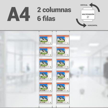 Cartel LED inmobiliaria 2x6-A4 multiposición horizontal, escaparates LED inmobiliaria, expositores LED inmobiliaria, carpetas led inmobiliaria, marcos led inmobiliaria