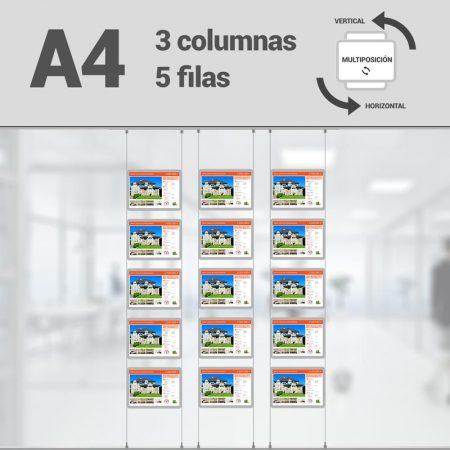 Cartel LED inmobiliaria 3x5-A4 multiposición horizontal, escaparates LED inmobiliaria, expositores LED inmobiliaria, carpetas led inmobiliaria, marcos led inmobiliaria