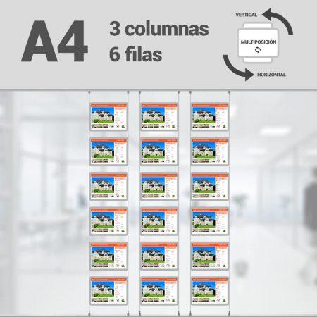 Cartel LED inmobiliaria 3x6-A4 multiposición horizontal, escaparates LED inmobiliaria, expositores LED inmobiliaria, carpetas led inmobiliaria, marcos led inmobiliaria