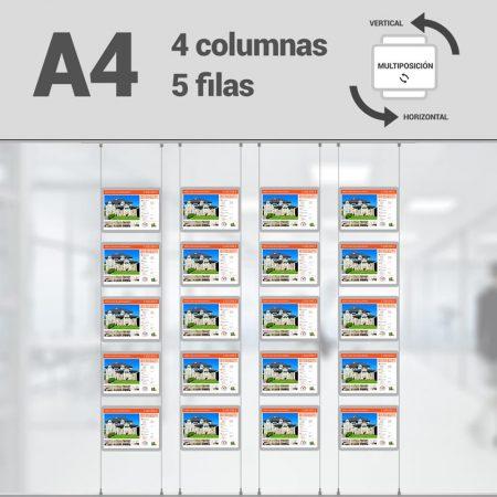 Cartel LED inmobiliaria 4x5-A4 multiposición horizontal, escaparates LED inmobiliaria, expositores LED inmobiliaria, carpetas led inmobiliaria, marcos led inmobiliaria