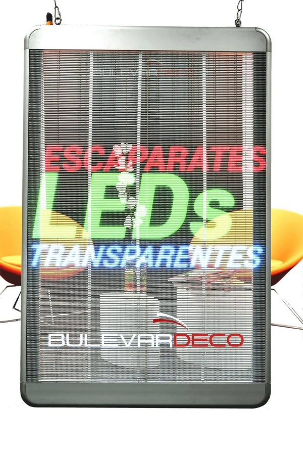 Pantalla led transparente de alta luminosidad, para escaparates.