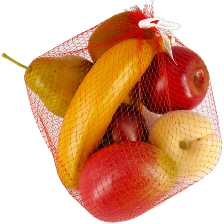 RÉPLICA FRUTAS VARIADAS EN BOLSA DE RED, réplica de comida, alimentos ficticios, réplica de alimentos, imitación alimentos, fake food, comida de imitación, sampuru