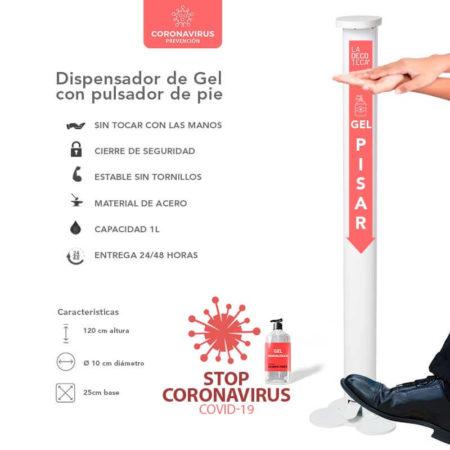 DISPENSADOR DE GEL HIDROALCOHÓLICO DESINFECTANTE CON PULSADOR DE PIE COVID-19, PARA LIMPIAR MANOS CONTRA EL VIRUS COVID-19, SIN TENER QUE TOCAR NINGÚN PULSADOR CON LAS MANOS, SOLO PULSANDO EL PIE, PANDEMIA GLOBAL VIRUS COVID-19