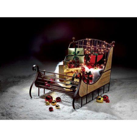 TRINEO DE NAVIDAD TAMAÑO REAL VINTAGE 166X110CM_01-Bulevardeco, decoración de navidad para escaparates, escaparates de invierno, trineo de Papá Noel, tirado por renos
